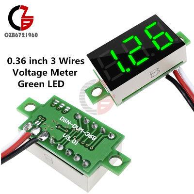 Green Led 0.36 Dc 0-30v Panel Voltage Meter 3 Wires 3-digital Display Voltmeter