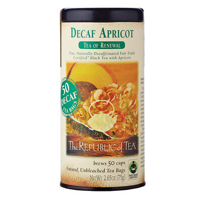 The Republic Of Tea Decaf Apricot Black Tea, 50 Tea Bags, Gourmet, Naturally Dec