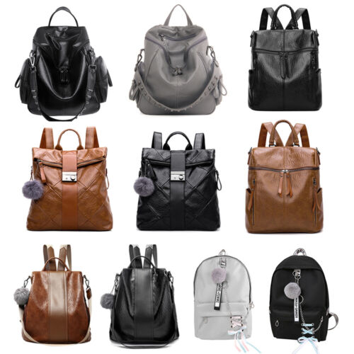 Women's Vintage Leather Satchel Shoulder Backpack Travel Sch
