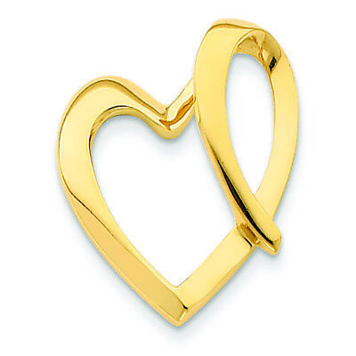14K Yellow Gold Heart Charm Omega Slide Pendant MSRP $526 ()