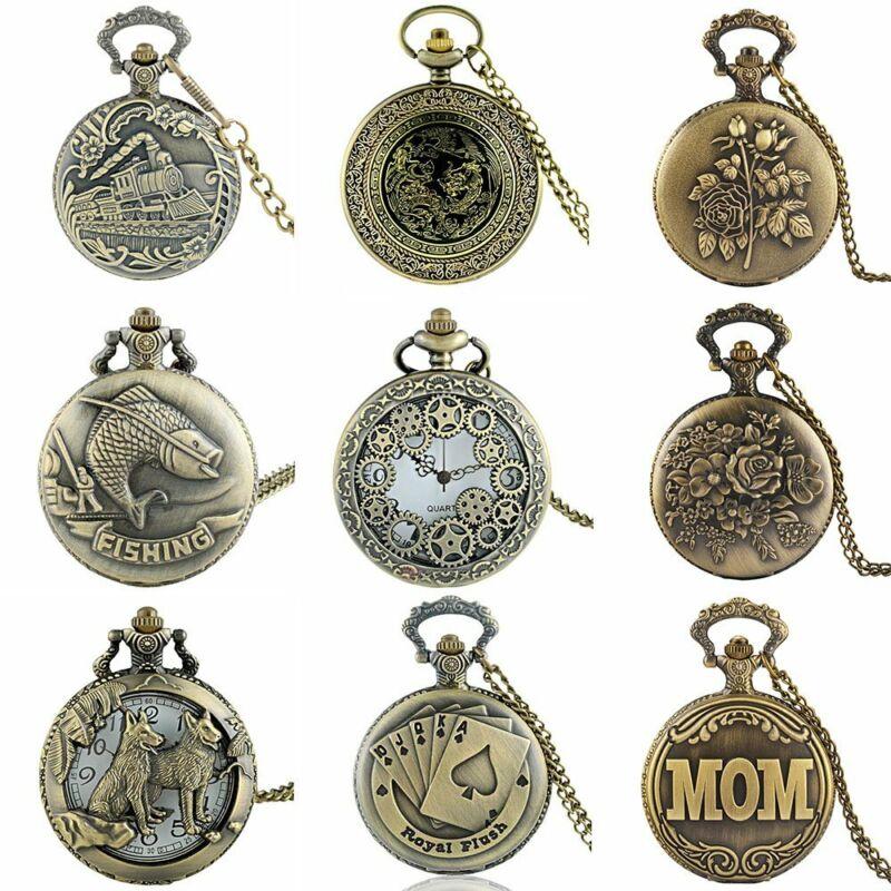 Vintage Pocket Watch Steampunk Antique Retro Necklace Quartz Pendant Chain Gift