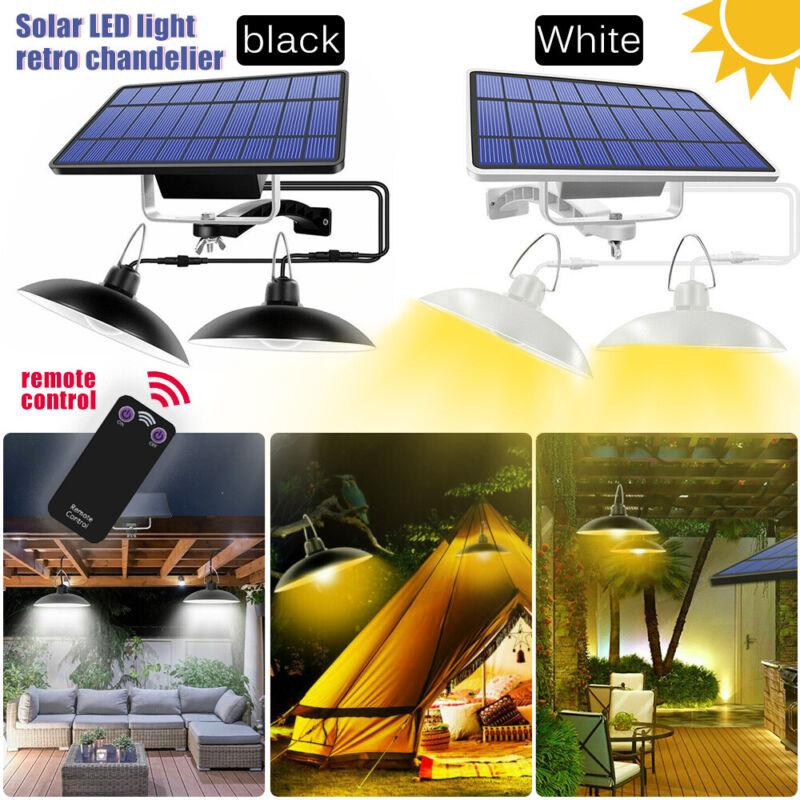 2 Head LED Solar Powered Pendant Hanging Light Lamp Garden Ceiling Lighting US