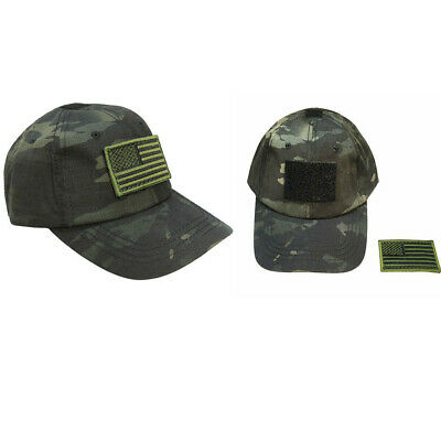 5028c7064c7be Tactical Operator Contractor Flag Patch Military Cap Hat- Multicam Black