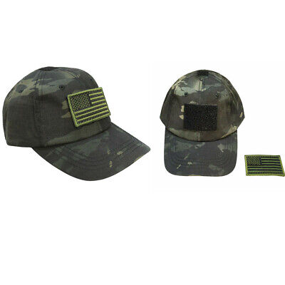 0f327a959a896 Tactical Operator Contractor Flag Patch Military Cap Hat- Multicam Black