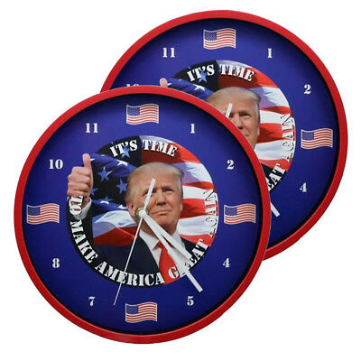Home Innovations Trump Talking Clock Battery Operated 2Pack Red Frame White Box