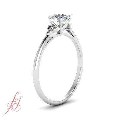 Solitaire 0.75 Carat Round Cut Diamond White Gold Celtic Style Engagement Ring 2