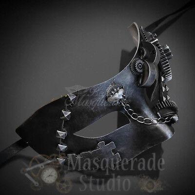 Men's 2017 Steampunk Costume Classic Halloween Masquerade Ball Mask [Silver] - Halloween Costumes 2017 Men