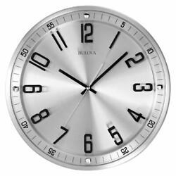Bulova Clocks C4646 Silhouette 13 Inch Metal Analog Wall Clock, Stainless Steel