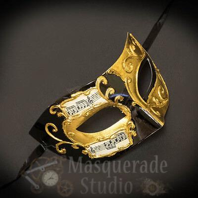 Mens Musical Half Phantom of the Opera Classic Masquerade Ball Mask [Black/Gold]
