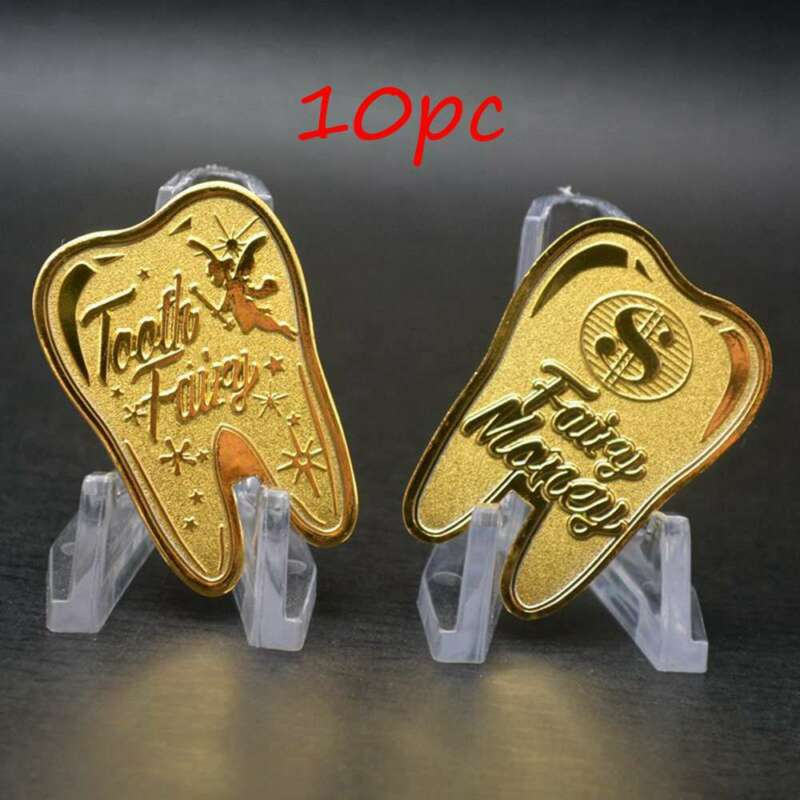 10pc Tooth Fairy Money Gold Plated Commemorative Coin Creative Kids Tooth Change