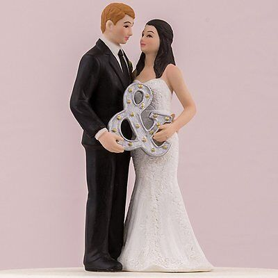 Mr. and Mrs. Ampersand Wedding Couple Cake Topper Reception HAIR - Ampersand Cake Topper