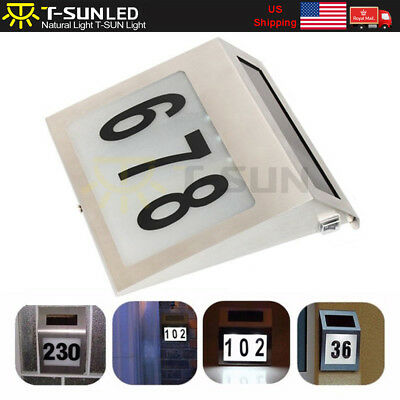 Solar Powered LED Address Sign Routed Back Lighted Sign House Number Plaque (House Address Sign)