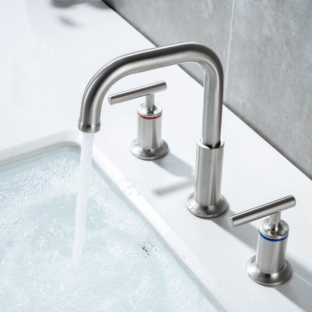 Widespread Bathroom Basin Sink Faucet Mixer Tap 3 Hole 2 Handle W/ Pop Up Drain