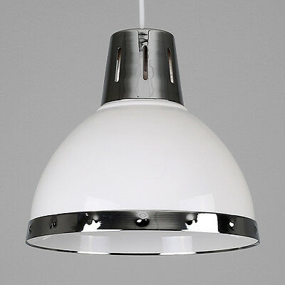 Lamp metal shade industrialebay modern industrial style gloss white chrome ceiling pendant light shade lamp mozeypictures Gallery