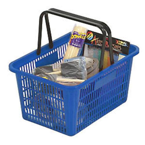 "Blue Shopping Basket Plastic Retail Merchandise 12"" x 17"" Supermarket Handles"