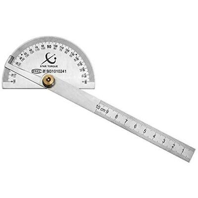 QWORK Protractor Stainless Steel 0-180 Round Head Angle Finder Ruler, Painting