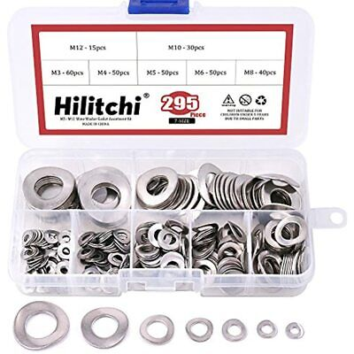 Hilitchi 295-Pcs 304 Stainless Steel Spring Wave Washer Gasket Assortment Kit M3