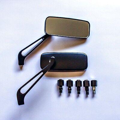 Universal Alloy Aluminium Black 8/10mm Custom Motorcycle Scooter Mirrors Pair