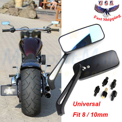 MOTORCYCLE RECTANGLE STEADY REARVIEW MIRRORS 8/10MM FOR HONDA SUZUKI KAWASAKI (Boulevard Mall)