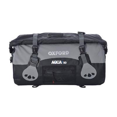Oxford Aqua T50 Motorcycle Motorbike Waterproof 50 Litres Roll Bag Black/Grey