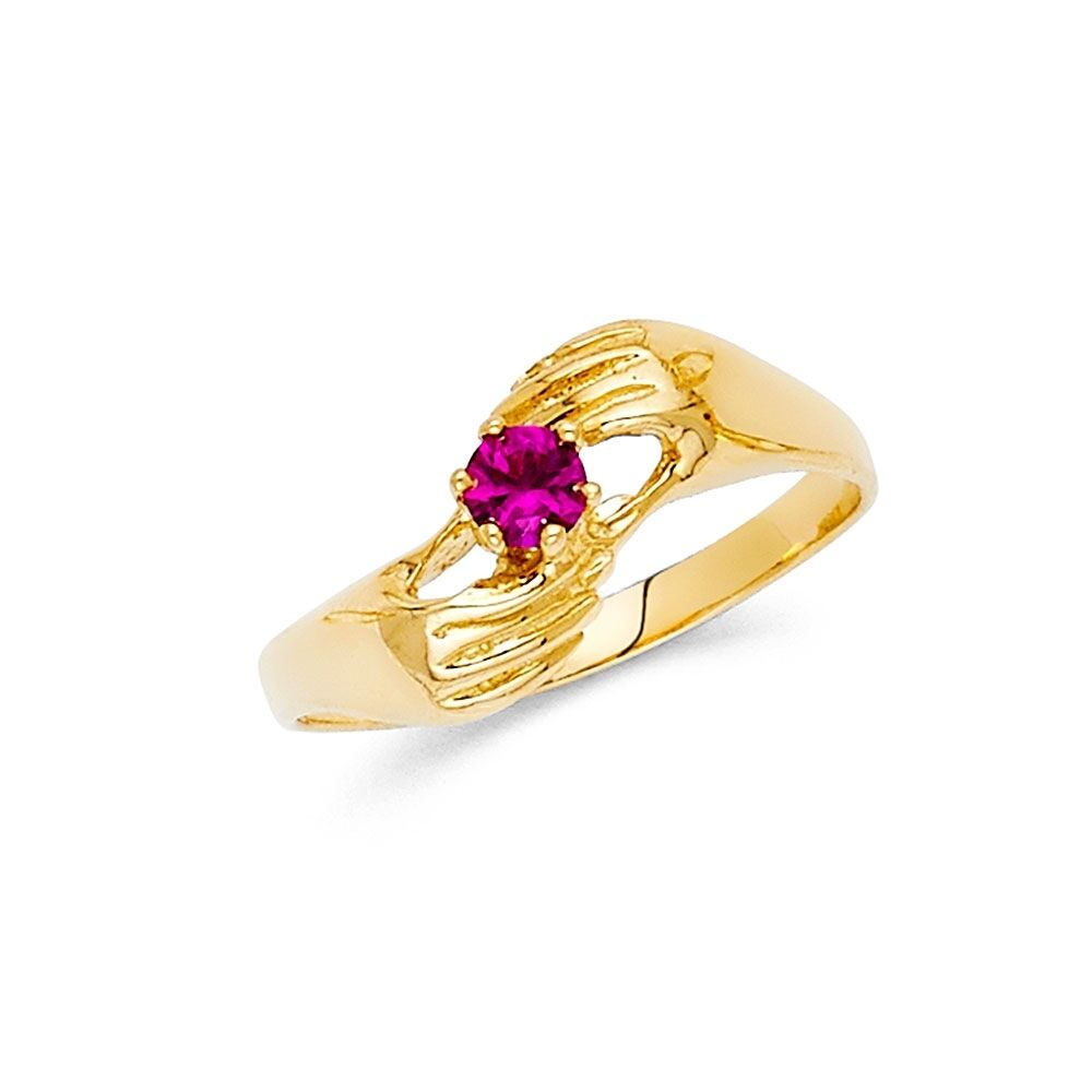Purple CZ Ring Solid 14k Yellow Gold Band Holding Hand CZ Marquise Stylish Fancy