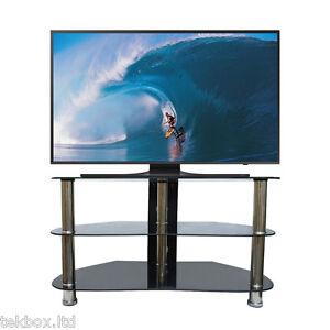 Corner TV Stand 26-42 Inch LED LCD 3 Black Glass Shelf Chrome Television Table