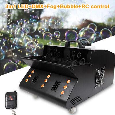 3000W 9LED Stage Effect Light 3in1 RGB Fog Smoke Bubble Machine W/Remote DJ