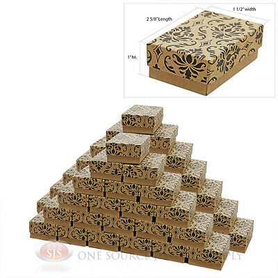 50 Damask Print Cotton Filled Jewelry Gift Boxes 2 58 X 1 12