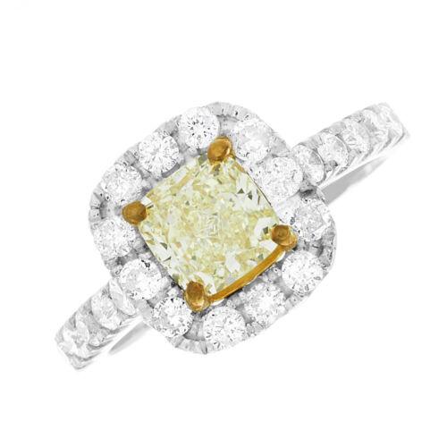 2.50 CT Fancy Yellow GIA Certified Cushion Cut Diamond Engagement Ring 18k Gold