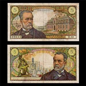 France-1967-5-francs-banknote-Type-039-Pasteur-039-SCARCE-Catalog-Value-150-VVF