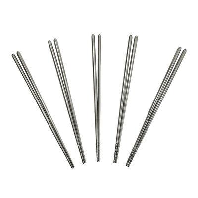 5 Pairs Chopsticks Reusable Cooking Metal Chopsticks, 9 inches