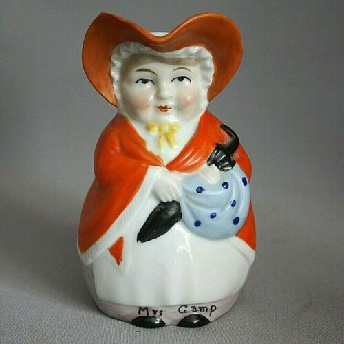 """Vntg GERMANY ERPHILA Charles Dickens MRS GAMP PITCHER Character 4 3/4"""" Toby Jug"""