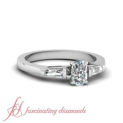 Engagement Ring Bar Set 0.70 Ct Cushion Very Good Cut & Baguette Diamond VS1 GIA