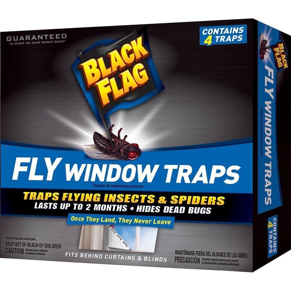 Black Flag Window Fly Trap flying Insects Use on Indoor Windows (4-Pack) Home & Garden