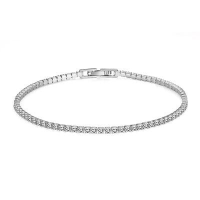 1 ct Crystal 'S' Link Tennis Bracelet in Sterling Silver-Plated Brass