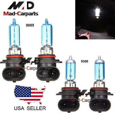 9005 + 9006 Halogen Xenon 100w Headlight Light Lamp Bulbs 6000K White Hi/Lo Beam