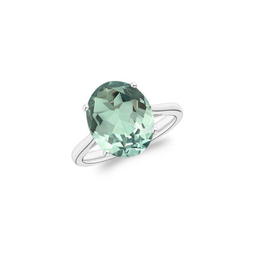 5.00 CTTW Genuine Green Amethyst Oval Cut 925 Sterling Silver Ring Sizes 6-10