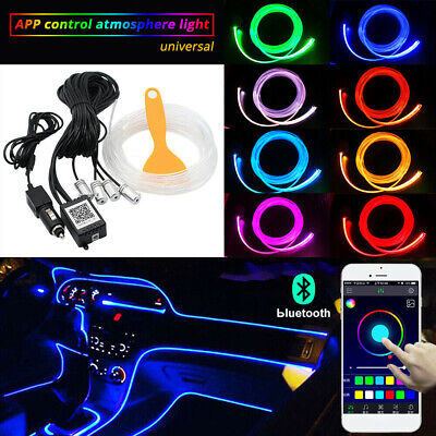 RGB LED Car Interior Light Fiber Optic Neon EL Wire Strip  Wire Atmosphere APP