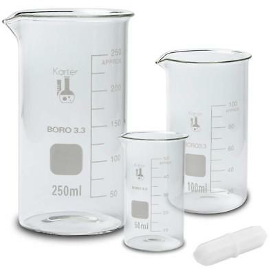 Glass Tall Form Beaker Set W Magnetic Stir Bar 3 Sizes - 50 100 250ml