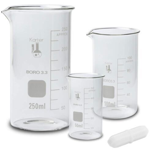 Glass Tall Form Beaker Set w/ Magnetic Stir Bar, 3 Sizes - 50, 100, 250ml