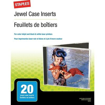 Staples Jewel Case Inserts 20/Pack 501797