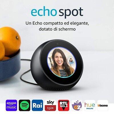 Amazon Echo Spot | Altoparlante intelligente dotato di schermo con Alexa Nero