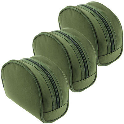 3 x NGT Green Large Carp Coarse Padded Green Fishing Tackle Reel Cases Set