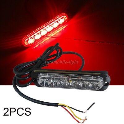 2Pcs RED 18W 6 LED MINI emergency Bar Beacon Warning Hazard Flash Strobe Light 2 Mini Bar Warning Light