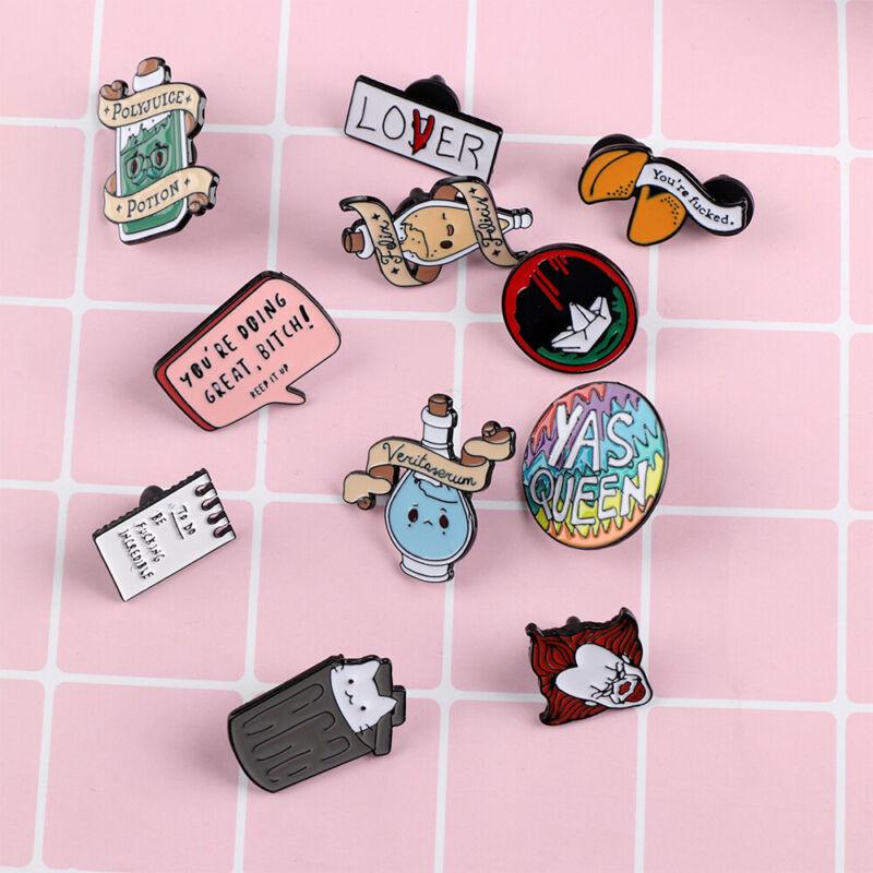 Cute Cartoon Piercing Brooch Pin Enamel Collar Badge Corsage