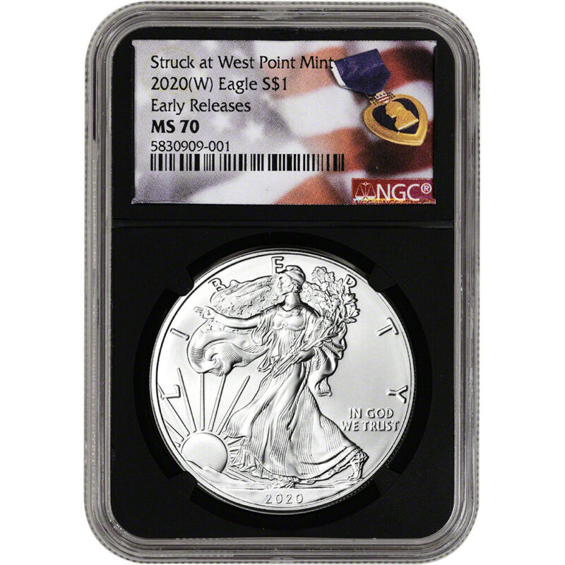 2020-(W) American Silver Eagle - NGC MS70 - Early Releases - Purple Heart Black