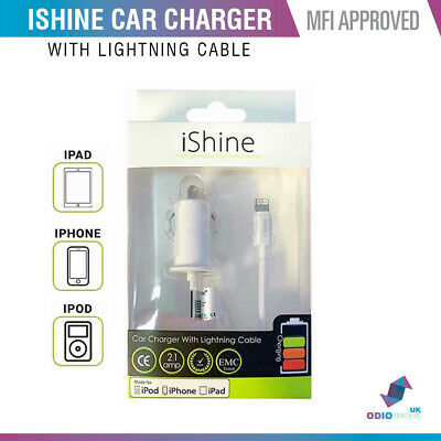 Genuine MFI Approved Lightning Car Charger For Apple iPhone X 5 6 7 8 iPad iPod