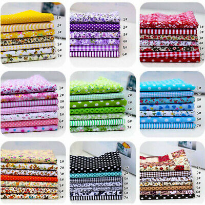 7Pcs 100% Cotton Fabric Assorted Pre-Cut Fat Quarters Bundle DIY Decor 25cm