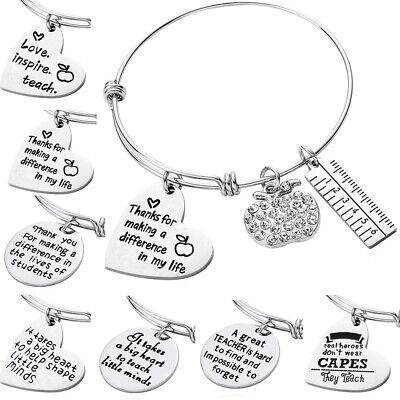 Teacher Bangle Charm Bracelet Apple Rhinestone Gift For Her Appreciation Jewelry - Bracelets For Teachers