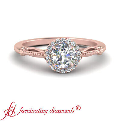 Rose Gold Vintage Halo Womens Engagement Ring With 0.90 Carat Round Cut Diamond 1